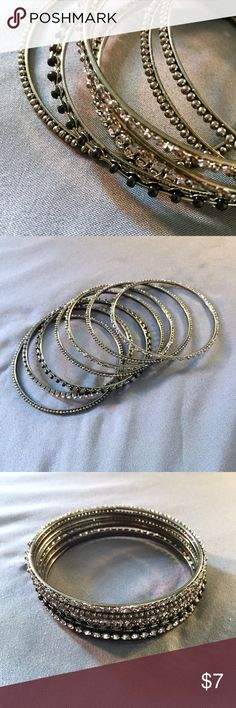Bangles Set of 7 bangle bracelets, perfect stocking stuffer! Feel free to ask questions and bundle for best savings! Reasonable offers are considered, no trades please.  Shop on and Happy Holidays Y'all!! 🎅🏻☃️🎁☃️🎅🏻 Jewelry Bracelets
