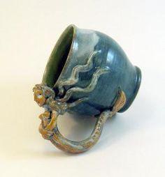 Mermaid Mug Teal Blue Green Sea Foam and Natural by skybirdarts
