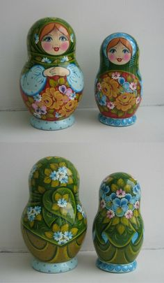 babushka dolls in traditional russian dress, find more beautiful nesting dolls at: www.bestrussiandolls.etsy.com