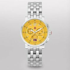 MICHELE Sport Sail Large Yellow Dial Stainless Steel Bracelet Michele. $745.00