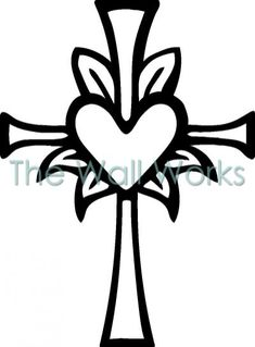 Cross With Heart In Middle Christian Drawings Cross Coloring Page, Free Adult Coloring Pages, Coloring Books, Cajas Silhouette Cameo, Cross Silhouette, Christian Drawings, Christian Symbols, Art Drawings For Kids, Easy Drawings