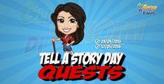 Tell A Story Day Quests  Inizio previsto per il 28/04/2016 alle ore 13:30 circa Scadenza il 12/05/2016 alle ore 19:00 circa  Hey Contadino! E il momento del giorno delle storie e delle fiabe! E quel periodo dellanno in cui ci si raccontano storie su tutto e di più! Cerco lispirazione perraccontare lastoria giusta? Mi aiuterai?    Mancano 16 giorni 7 ore 49 minuti 31 secondi alla scadenza della quest!    Il  Tell a Story Day è ilgiorno di celebrazione della lettura e della narrazione. Ricorre…