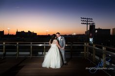 Hensville Wedding at sunset!  Love this bride and groom portrait overlooking Toledo's 5/3rd Field!  So romantic!  www.jhphotography.org