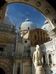 Venice, top of Giants' Staircase with the back of the mars statue at the Doge's Palace.