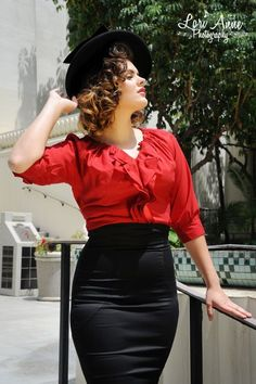ae761bdd92 blouse and skirt   Photo Red Blouse Outfit