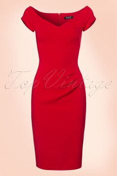 This 50s Candace Pencil Dress in Lipstick Red makes you feel like a real woman! Oh la la, this beauty has everything in it to make you look sexy yet classy! An elegant sweetheart neckline, pleats at the bust and super flattering pleats at the tummy area to finish it off perfectly. Made from a stretchy, lipstick red fabric that kisses your curves for a sexy silhouette. Be a glamorous bombshell babe, just like Marilyn Monroe ;-) ...
