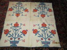 ESTATE FRESH 1860-1890 POMRGRANTE pattern APPLIQUE HAND SEWN QUILT NR