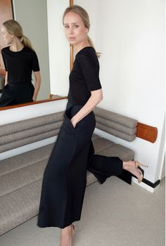 Elin Kling in a simple tshirt, nude slingbacks and wide legged pants