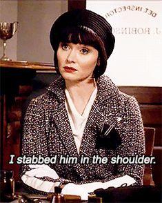 I stabbed him in the shoulder.