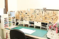 Joy Taylor's Workspace. Amazing stamp and craft supply storage.