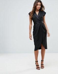 Платье миди с атласной отделкой ASOS