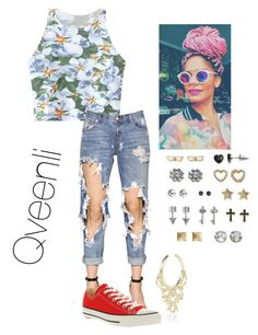 """Fck school Bihhh"" by qveenli ❤ liked on Polyvore featuring Chicnova Fashion, One Teaspoon, Converse, SO and River Island"