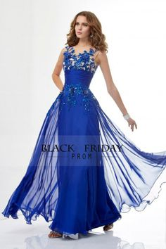 Prom Dress Scoop Sweep Train Embroidery 2015 New Style Dark Royal Blue