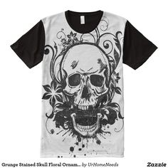 Grunge Stained Skull Floral Ornamental