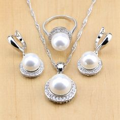 Simulated-Pearl With Beads Silver 925 Jewelry Sets For Women Pendant Drop Earrings Rings Necklace Set Free Gift Box Ring Necklace, Pearl Earrings, Pendant Necklace, Drop Earrings, Bridal Jewelry Sets, Engagement Jewelry, Free Gifts, Jewelry Accessories, Fine Jewelry
