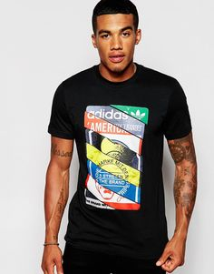 T-shirt by adidas Originals Cotton jersey Crew neck Contrast logo print Regular fit - true to size Machine wash Cotton Our model wears a size Medium and is tall Camisa Gucci, Adidas Originals, Camisa Nike, Cool Shirt Designs, Customise T Shirt, Models, Printing Labels, Cool Tees, Boy Outfits