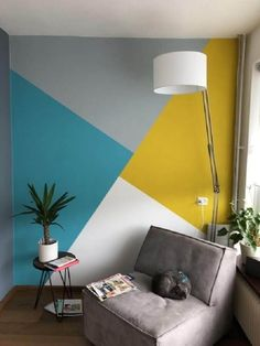 Geometric Wall Paint, Geometric Shapes, Geometric Decor, Room Wall Painting, Creative Wall Painting, Wall Painting Colors, Wall Colours, Colors For Walls, Color Combinations For Walls