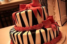 Possible cake theme for Marisa's Sweet 16. She loves zebra print.