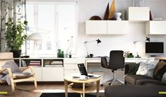 Ikea Besta desk, Love the wall filled with storage of different types