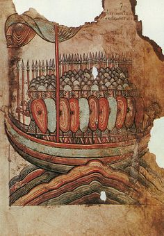 VIKING INVASION, 919.  Viking warriors landing at Gu�rande on the coast of Brittany in 919 A.D. French manuscript illumination on vellum, c1100.