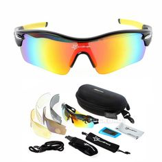 New RockBros Polarized 5 Lens Sun Glasses Outdoor Sports Bicycle Glasses  Sunglasses Goggles Eyewear 24e71b6d8349
