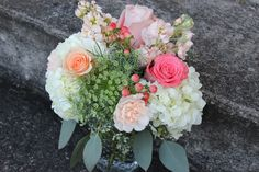 vintage garden nobnail mason jar wedding table centerpiece floral arrangement design coral peach pink blush sage green white ivory hydrangea roses, stock, hypericum berries, queen anns lace, eucalyptus, etc.  http://sophisticatedfloral.com/users/awp.php?ln=110659