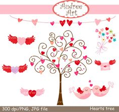 Valentine's day Digital clip art hearts tree kiss by audreeart