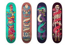 9 skateboard designs for two different projects by Skinpop.