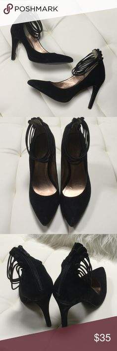 """Saude Black Heels These classy beauties will go great with a formal evening dress or business apparel. Heels zip in the back and the multiple ankle straps give them a sexy flare. Only worn once. 4"""" heel. BCBG Shoes Heels"""