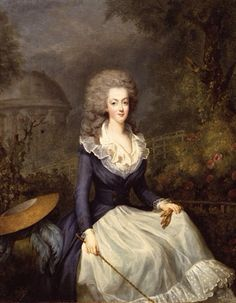 """This is a rare confusion:  not the Duchess of Devonshire, but Marie Antoinette!  Once attributed to Antoine Vestier, now attributed to Jean-Baptiste André Gautier-Dagoty (Catalogue """"Marie-Antoinette"""" par Reunion de Museés Nationaux) Queen Marie Antoinette of France, circa 1778-1780 (from studies about her dressing and hairstyles) Medium"""