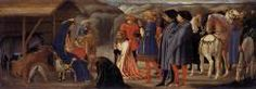 1426, MASACCIO(b.1401,San Giovanni Valdarno,d.1428,Roma) Adoration of the Magi,tempera on poplar,21x61 cm, Staatliche Museen,Berlin.This painting is the central predella panel of the Pisa Altarpiece,directly beneath the enthroned Madonna and Child. Compared to Gentile da Fabriano's painting of the same subject done in Florence just a few years before, Masaccio's treatment is entirely new. Besides offering lifelike portraits of the patron and his nephew in contemporary dress at