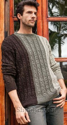 Разноцветный мужской пуловер с косами Knitwear Fashion, Knit Fashion, Unisex Fashion, Mens Winter Sweaters, Cool Sweaters, Cable Sweater, Men Sweater, Crochet Men, Great Mens Fashion