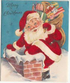 Vintage Flocked Santa Claus Going Down Chimney Christmas Greeting Card
