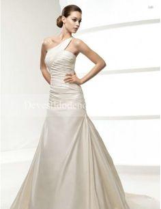 Barato Linha-A Cetim Assimétrico Vestidos de Noiva