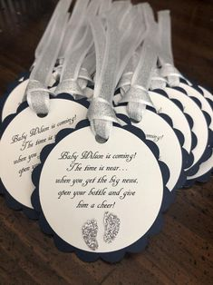Items similar to navy blue and silver baby shower favor tags, navy and silver baby boy shower, navy champagne pop when she pops favors on Etsy Glitter Ribbon, Silver Glitter, Blue And Silver, Pink And Gold, Navy Blue, Baby Shower Favors, Baby Boy Shower, Baby Shower Decorations, Having A Baby Boy