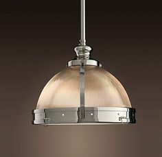 """restoration hardware Clemson Pendant  $219 - $459Special $169 - $359    Clemson offers a modern silhouette and a sleek, hand-polished finish that will illuminate your kitchen or workplace.        * Steel frame      * Dome of prismatic glass      * Rippled glass diffuser for glare-free illumination      * Polished nickel finish      * 8"""" pendant uses one 60W max. bulb (not included)      * 14"""" and 18"""" pendants each use two 100W max. bulbs      * Catalog and Web only    8"""" Pendant > 14""""…"""