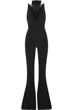 Black stretch-crepe and silk-chiffon Concealed zip fastening along back viscose, elastane; Satin Jumpsuit, Black Jumpsuit, Girl Fashion, Fashion Outfits, Cute Rompers, Silk Chiffon, Going Out, Style Inspiration, Body Top