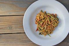 zucchini spaghetti and goat cheese