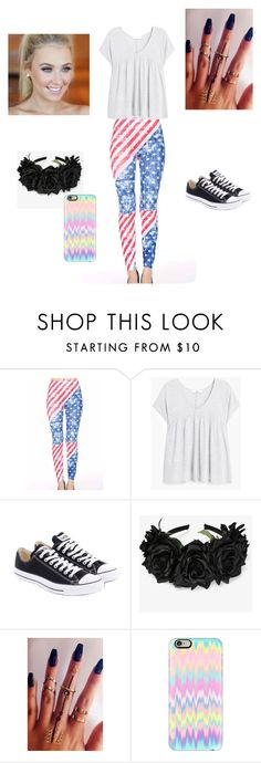 Made it to America by addisonlaylor on Polyvore featuring MANGO, Converse and Casetify