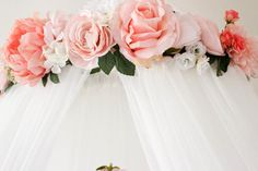 Beautiful Pink and White Crib or Bed Canopy with Roses and hanging crystals and peonies mobile  Baby girl  Nursery decor  Pink nursery Floral nursery nesting