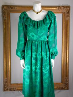 Vintage 1980's Clarisa Emerald Green Dress Size 10