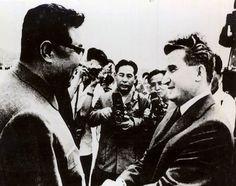 Romania's Nicolae Ceaușescu meeting North Korea's Kim Il-Sung on a state visit in 1971 to North Korea