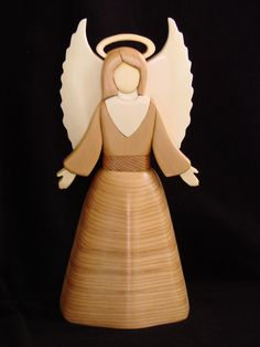 Intarsia Angel Tree Topper designed by Judy Gale Roberts. Intarsia Wood Patterns, Free Angel, Wood For Sale, Intarsia Woodworking, Beginner Woodworking Projects, Scroll Saw Patterns, Wood Working For Beginners, Light Switch Covers, Tree Toppers