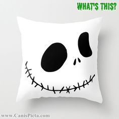 1 Jack Skellington Nightmare Before Christmas Throw Pillow 16x16 Graphic Print Cover Halloween Autumn Fall Pumpkin Orange White Disney Skull, $35.00