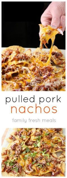 These Pulled Pork Nachos are festive, tasty, AND really easy to make. In fact, if you start with premade pulled pork, you can have this ready in under 10 minutes. Pulled Pork Nachos, Bbq Nachos, Pulled Pork Quesadilla, Healthy Pulled Pork, Pulled Pork Oven, Bbq Chicken Nachos, Pull Pork, Baked Nachos, Slow Cooked Pulled Pork