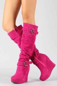 Black Suede Fur Buckle Fashion Wedge High Heel Womens Knee High ...