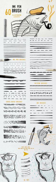 Ink Pen Brush vector. Photoshop Brushes. $7.00