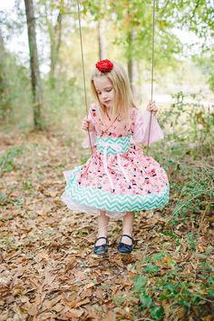 Little Girls Dress in Adorable Harajuku Print, Kokeshi Doll Toddler Dress