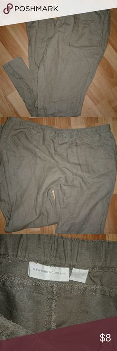 Large New York & Company Linen Pants Gently worn a few times. Drawstring and button. Polished look. New York & Company Pants