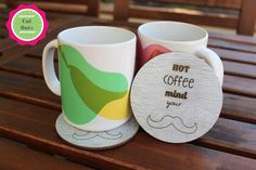 Hot coffee, mind your mustache by CutOutsProductDesign on Etsy Mind You, Hot Coffee, Mustache, Coasters, Mindfulness, Etsy, Moustache, Drink Coasters, Moustaches